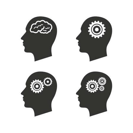 cerebro blanco y negro: Cabeza con el icono del cerebro. Hombre think símbolos humanos. Engranajes de cremallera, signos. Iconos planos en blanco. Vector