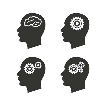 head gear: Head with brain icon. Male human think symbols. Cogwheel gears signs. Flat icons on white. Vector Illustration