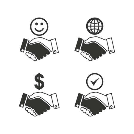 amicable: Handshake icons. World, Smile happy face and house building symbol. Dollar cash money. Amicable agreement. Flat icons on white. Vector Illustration