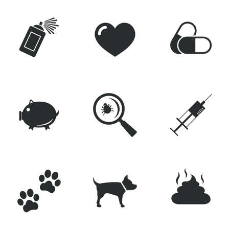 feces: Veterinary, pets icons. Dog paws, syringe and magnifier signs. Pills, heart and feces symbols. Flat icons on white. Vector