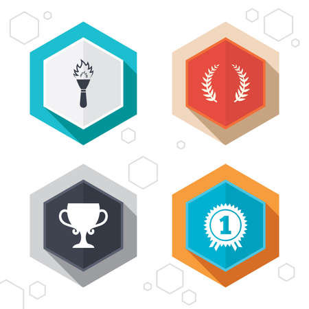 fire place: Hexagon buttons. First place award cup icons. Laurel wreath sign. Torch fire flame symbol. Prize for winner. Labels with shadow. Vector