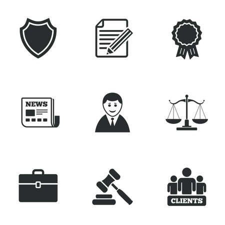 law: Lawyer, scales of justice icons. Clients, auction hammer and law judge symbols. Newspaper, award and agreement document signs. Flat icons on white. Vector