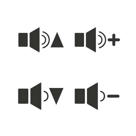 quieter: Player control icons. Sound louder and quieter signs. Dynamic symbol. Flat icons on white. Vector Illustration
