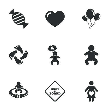 maternity: Pregnancy, maternity and baby care icons. Candy, strollers and fasten seat belt signs. Footprint, love and balloon symbols. Flat icons on white. Vector Illustration