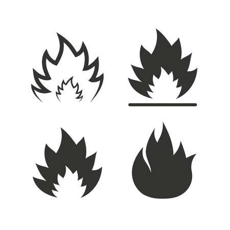 火災炎アイコン。熱のシンボル。引火しやすいサイン。白地フラット アイコン。ベクトル