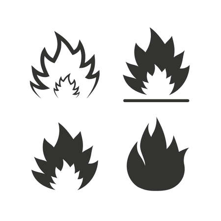 llamas de fuego: Iconos llama Fuego. S�mbolos de calor. Signos inflamables. Iconos planos en blanco. Vector