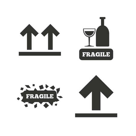 brittle: Fragile icons. Delicate package delivery signs. This side up arrows symbol. Flat icons on white. Vector