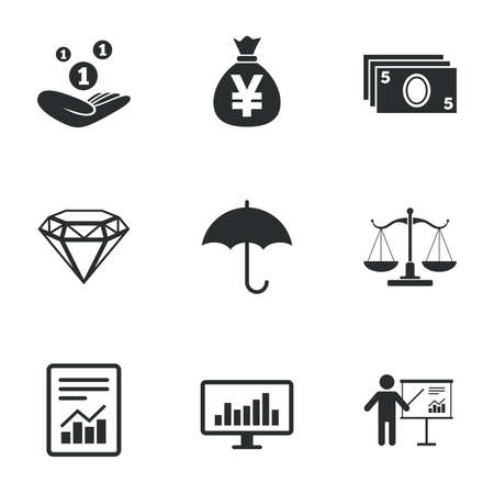finance report: Money, cash and finance icons. Money savings, justice scales and report signs. Presentation, analysis and umbrella symbols. Flat icons on white. Vector Illustration