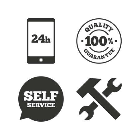 customer support: Repair fix tool icons. 24h Customer support service signs. 100% quality guarantee symbol. Hammer with wrench key. Flat icons on white. Vector