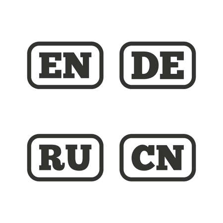 en: Language icons. EN, DE, RU and CN translation symbols. English, German, Russian and Chinese languages. Flat icons on white. Vector Illustration