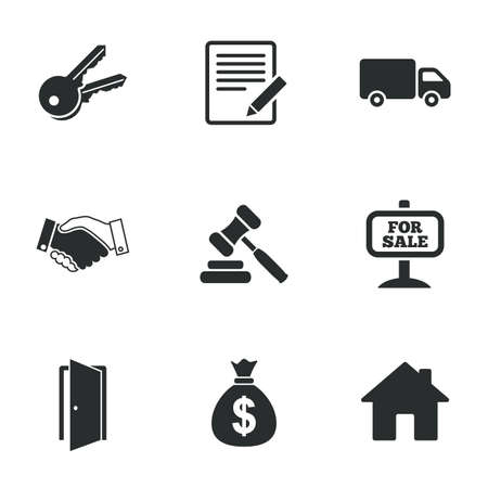 auction: Real estate, auction icons. Handshake, for sale and money bag signs. Keys, delivery truck and door symbols. Flat icons on white. Vector