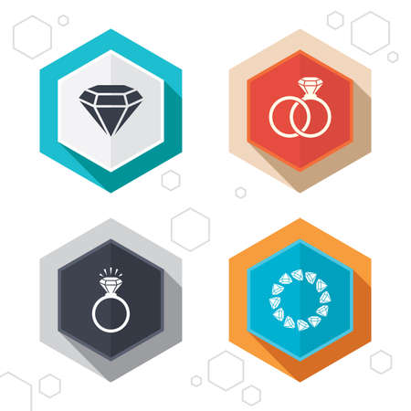 diamond rings: Hexagon buttons. Rings icons. Jewelry with shine diamond signs. Wedding or engagement symbols. Labels with shadow. Vector