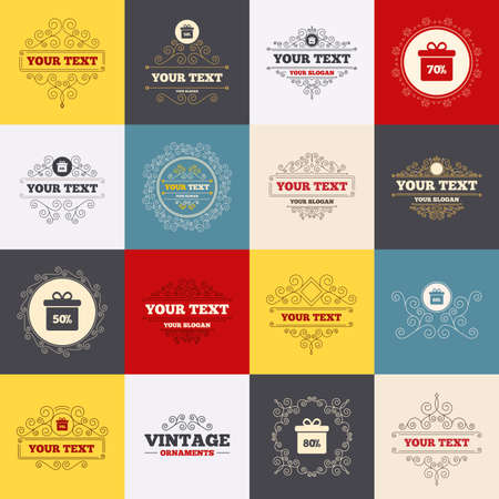 50 to 60: Vintage frames, labels. Sale gift box tag icons. Discount special offer symbols. 50%, 60%, 70% and 80% percent discount signs. Scroll elements. Vector
