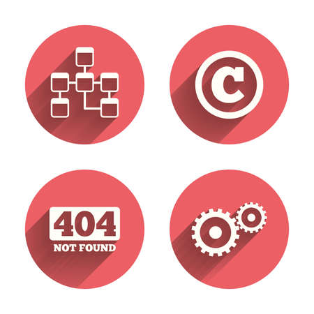 copyrights: Website database icon. Copyrights and gear signs. 404 page not found symbol. Under construction. Pink circles flat buttons with shadow. Vector