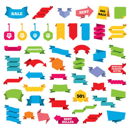 50 to 60: Web stickers, banners and labels. Sale arrow tag icons. Discount special offer symbols. 50%, 60%, 70% and 80% percent off signs. Price tags set. Vector
