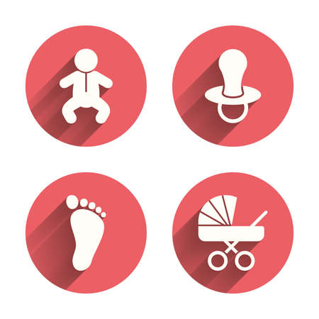 diapers: Baby infants icons. Toddler boy with diapers symbol. Buggy and dummy signs. Child pacifier and pram stroller. Child footprint step sign. Pink circles flat buttons with shadow. Vector