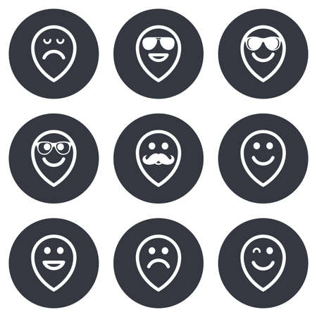 sorrowful: Smile pointers icons. Happy, sad and wink faces signs. Sunglasses, mustache and laughing lol smiley symbols. Gray flat circle buttons. Vector
