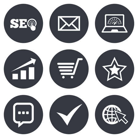 bandwidth: Internet, seo icons. Tick, online shopping and chart signs. Bandwidth, mobile device and chat symbols. Gray flat circle buttons. Vector