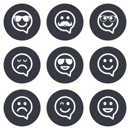 wink: Smile speech bubbles icons. Happy, sad and wink faces signs. Sunglasses, mustache and laughing lol smiley symbols. Gray flat circle buttons. Vector