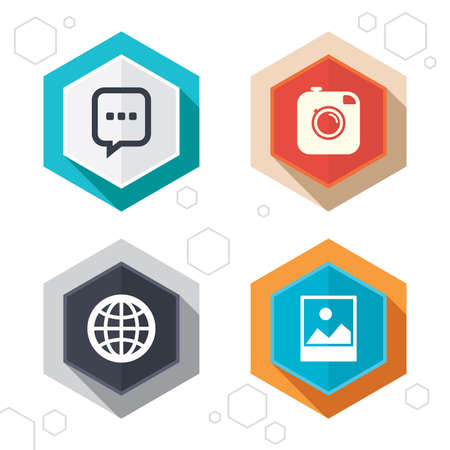 world  hexagon: Hexagon buttons. Social media icons. Chat speech bubble and world globe symbols. Hipster photo camera sign. Landscape photo frame. Labels with shadow. Vector