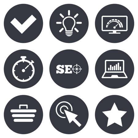 Internet, SEO Icons. Bandbreitengeschwindigkeit, Online-Shopping und Zecken Zeichen. Lieblingsstar, Notebook-Grafik-Symbole. Grau Flach Kreis Tasten. Vektor Standard-Bild - 46330755