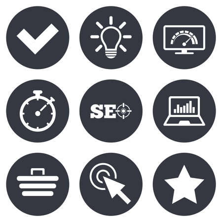 tick icon: Internet, seo icons. Bandwidth speed, online shopping and tick signs. Favorite star, notebook chart symbols. Gray flat circle buttons. Vector