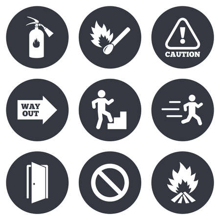 safety equipment: Fire safety, emergency icons. Fire extinguisher, exit and attention signs. Caution, water drop and way out symbols. Gray flat circle buttons. Vector