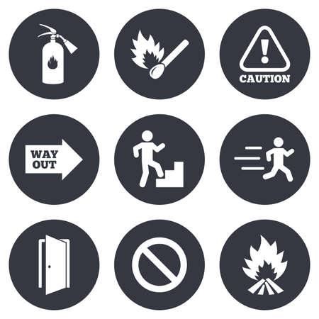 se�ales de seguridad: La seguridad contra incendios, iconos de emergencia. Extintor, salida y atenci�n signos. Precauci�n, gota de agua y salida s�mbolos. Gray botones de c�rculo planas. Vector