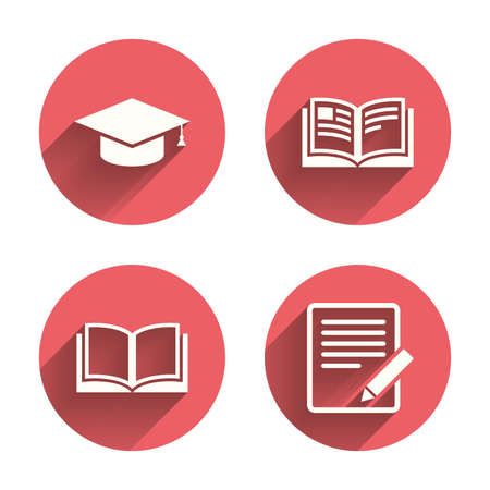 pink cap: Pencil with document and open book icons. Graduation cap symbol. Higher education learn signs. Pink circles flat buttons with shadow. Vector