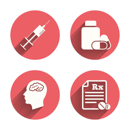 syringe inoculation: Medicine icons. Medical tablets bottle, head with brain, prescription Rx and syringe signs. Pharmacy or medicine symbol. Pink circles flat buttons with shadow. Vector Illustration