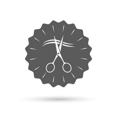 cut hair: Vintage emblem medal. Scissors cut hair sign icon. Hairdresser or barbershop symbol. Classic flat icon. Vector