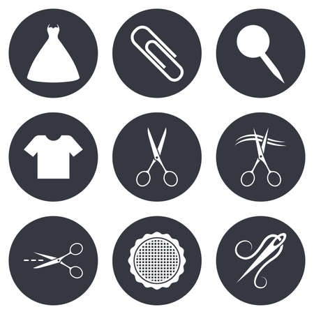 safety circle: Tailor, sewing and embroidery icons. Scissors, safety pin and needle signs. Shirt and dress symbols. Gray flat circle buttons. Vector