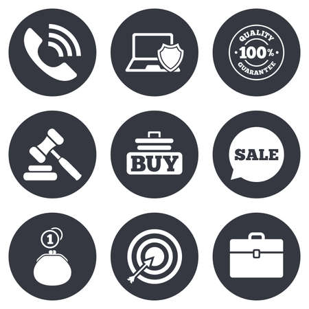 auction: Online shopping, e-commerce and business icons. Auction, phone call and sale signs. Cash money, case and target symbols. Gray flat circle buttons. Vector
