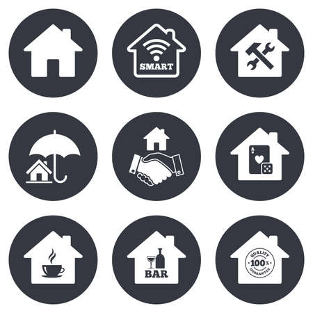 bar tool set: Real estate icons. House insurance, broker and casino with bar signs. Handshake deal, coffee and smart house symbols. Gray flat circle buttons. Vector Illustration