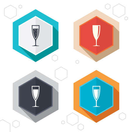 fizz: Hexagon buttons. Champagne wine glasses icons. Alcohol drinks sign symbols. Sparkling wine with bubbles. Labels with shadow. Vector