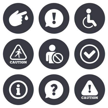 주의 사항 및주의 아이콘. 물음표와 정보 표지판입니다. 부상 및 장애인 기호입니다. 회색 플랫 원 버튼. 벡터