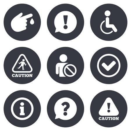 Caution and attention icons. Question mark and information signs. Injury and disabled person symbols. Gray flat circle buttons. Vector Illustration