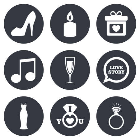 diamond candle: Wedding, engagement icons. Ring with diamond, gift box and music signs. Dress, shoes and champagne glass symbols. Gray flat circle buttons. Vector