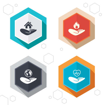 protection incendie: Hexagon buttons. Helping hands icons. Health and travel trip insurance symbols. Home house or real estate sign. Fire protection. Labels with shadow. Vector