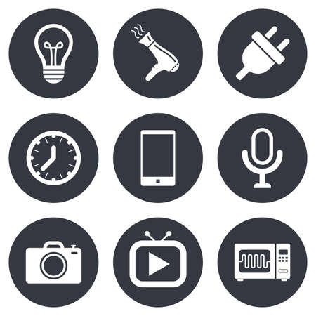 Home appliances, device icons. Electronics signs. Lamp, electrical plug and photo camera symbols. Gray flat circle buttons. Vector