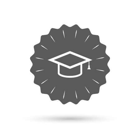 higher quality: Vintage emblem medal. Graduation cap sign icon. Higher education symbol. Classic flat icon. Vector