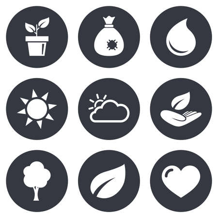 bag of soil: Garden sprout, leaf icons. Nature and weather signs. Sun, cloud and tree symbols. Gray flat circle buttons. Vector