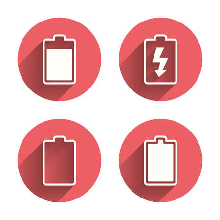 stored: Battery charging icons. Electricity signs symbols. Charge levels: full, empty. Pink circles flat buttons with shadow. Vector