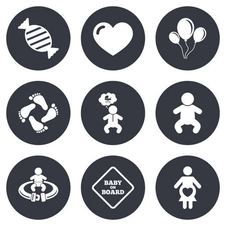Pregnancy, maternity and baby care icons. Candy, strollers and fasten seat belt signs. Footprint, love and balloon symbols. Gray flat circle buttons. Vector