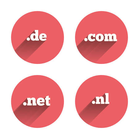 Top-level internet domain icons. De, Com, Net and Nl symbols. Unique national DNS names. Pink circles flat buttons with shadow. Vector Illustration