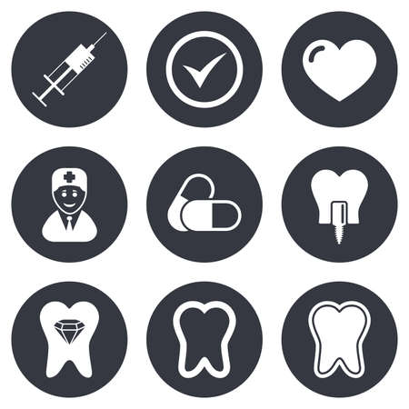 stomatology: Tooth, dental care icons. Stomatology, syringe and implant signs. Healthy teeth, dentist and pills symbols. Gray flat circle buttons. Vector