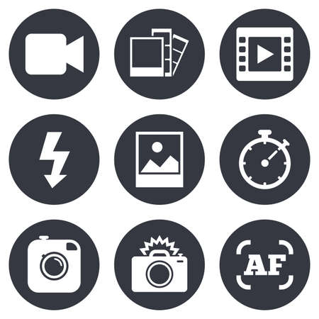 auto focus: Photo, video icons. Camera, photos and frame signs. Flash, timer and landscape symbols. Gray flat circle buttons. Vector