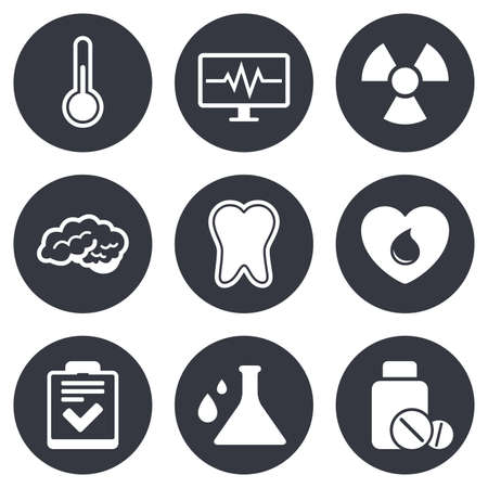 checklist: Medicine, medical health and diagnosis icons. Blood donate, thermometer and pills signs. Tooth, neurology symbols. Gray flat circle buttons. Vector