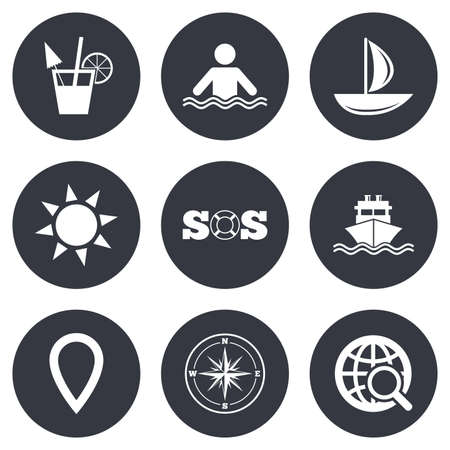 rose background: Cruise trip, ship and yacht icons. Travel, cocktail and sun signs. Sos, windrose compass and swimming symbols. Gray flat circle buttons. Vector