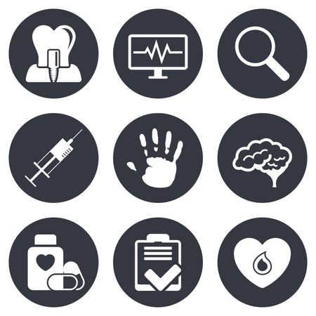 syringe injection: Medicine, medical health and diagnosis icons. Blood, syringe injection and neurology signs. Tooth implant, magnifier symbols. Gray flat circle buttons. Vector Illustration